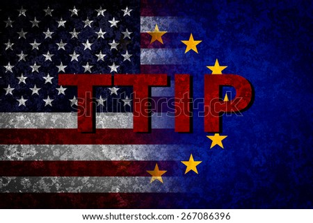 USA and EU flags. TTIP concept - stock photo