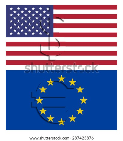 USA and EU flags wish dollar and euro currency symbol isolated on white background. - stock photo