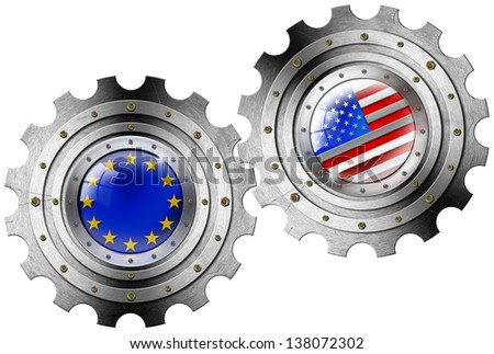 USA and Europe Flags on a Gears / Two Metallic gears with USA and European Union Flags - Industrial cooperation