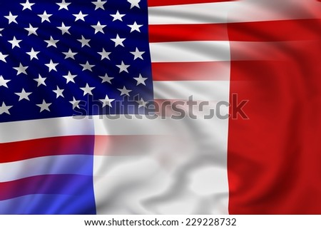 USA and France flag waving in the wind. High quality illustration.