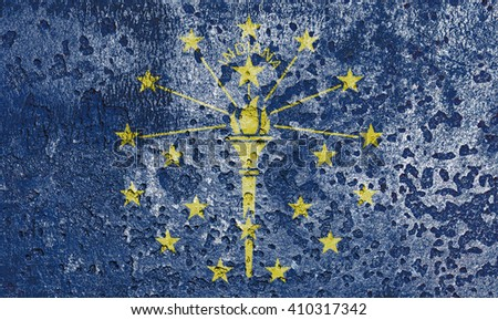 USA and Indiana State Flag painted on grunge metal - stock photo