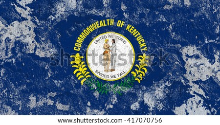 USA and Kentucky State Flag painted on grunge wall - stock photo
