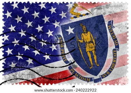 USA and Massachusetts State Flag - old postage stamp