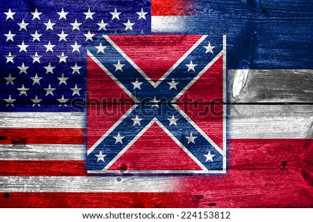 USA and Mississippi State Flag painted on old wood plank texture - stock photo