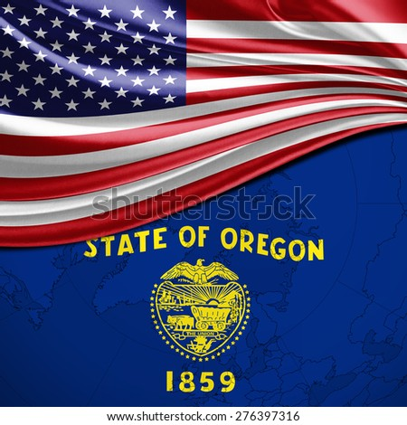 Usa And Oregon State Flag On World Map Background