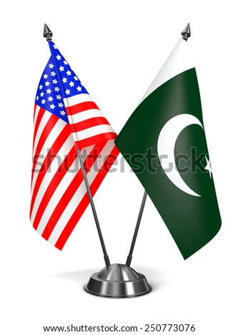USA and Pakistan - Miniature Flags Isolated on White Background. - stock photo