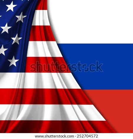 USA and Russia Flag - stock photo