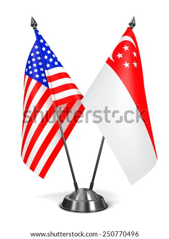 USA and Singapore - Miniature Flags Isolated on White Background. - stock photo