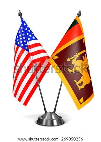 USA and Sri Lanka - Miniature Flags Isolated on White Background. - stock photo
