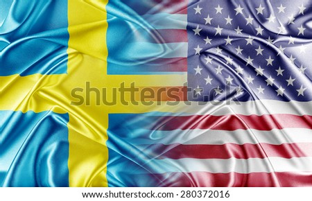 USA and Sweden. Relations between two countries. Conceptual image. - stock photo