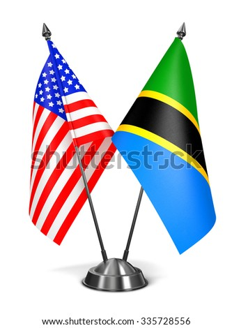 USA and Tanzania - Miniature Flags Isolated on White Background. - stock photo