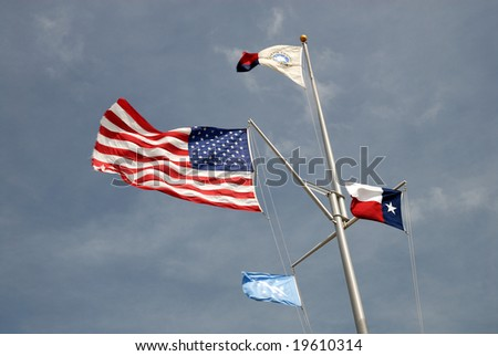 USA and Texas state flags in Corpus Christi, TX USA