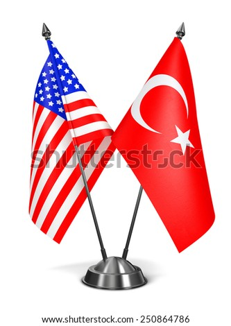 USA and Turkey - Miniature Flags Isolated on White Background. - stock photo