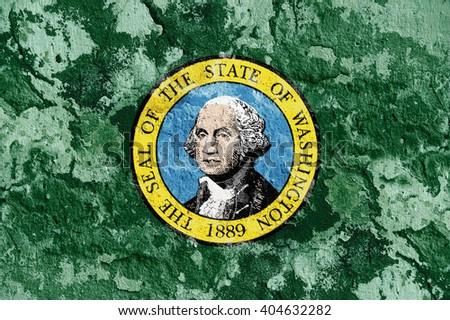 USA and Washington State Flag painted on grunge wall - stock photo