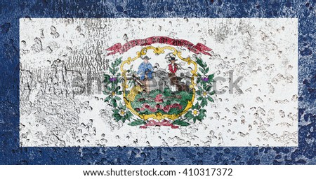 USA and West Virginia State Flag painted on grunge wall - stock photo