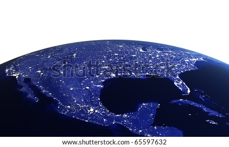 USA at night on white. Maps from NASA imagery - stock photo