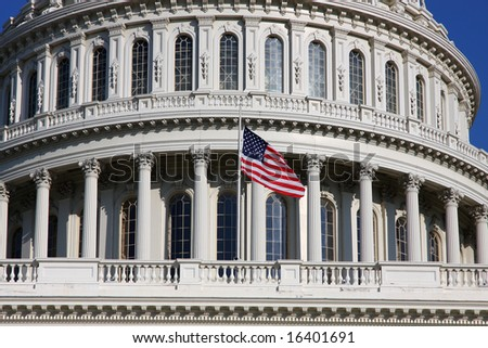 USA Capitol and Flag - stock photo