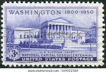 USA - CIRCA 1950: A postage stamp printed in the USA, dedicated to the 150th anniversary of the establishment of the National Capital, Washington, DC, shows the Supreme Court Building, circa 1950 - stock photo