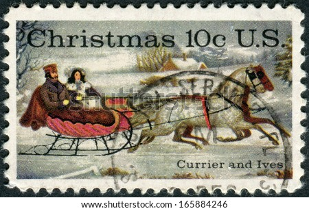 "USA - CIRCA 1974: A postage stamp printed in USA, Christmas Issue, shows ""The Road-Winter,"" by Currier and Ives, circa 1974 - stock photo"