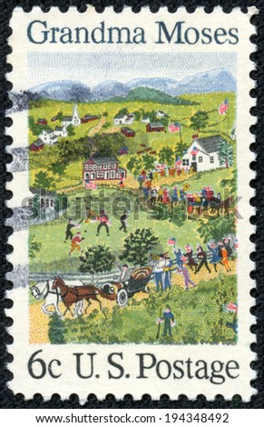 "USA - CIRCA 1969: A postage stamp printed in USA, shows a picture of the ""July Fourth"" by Grandma Moses (Anna Mary Robertson Moses), primitive painter of American life, circa 1969"