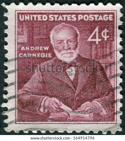 USA - CIRCA 1960: A postage stamp printed in USA, shows Andrew Carnegie, industrialist and philanthropist, circa 1960 - stock photo
