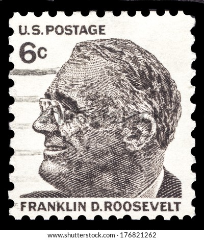 USA-CIRCA 1966: A postage stamp shows image portrait of Franklin D Roosevelt the 37th President of the United States of America, circa 1966. - stock photo