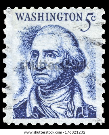 USA-CIRCA 1966: A postage stamp shows image portrait of George Washington the 1st President of the United States of America, circa 1966. - stock photo