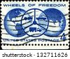 USA - CIRCA 1960: A stamp dedicated to The Freedom Wheels Program is an initiative set up by the Technical Aid to the Disabled (TAD) organization with disabilities modified bikes, circa 1960 - stock photo