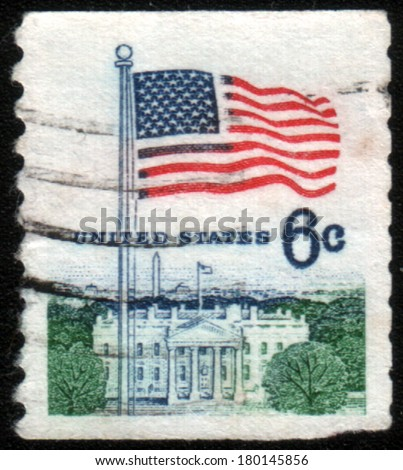 USA-CIRCA 1980:A stamp dedicated to The national flag of the United States of America, circa 1980.  - stock photo