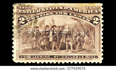 USA-CIRCA 2016 A stamp printed in the United States in 1893 shows Columbus Landing in the Americas 1492, circa 2016.