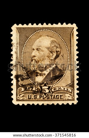 USA-CIRCA 2016 A stamp printed in the United States in 1882 shows Portrait of  President James A. Garfield 20th president of the United States of America, circa 2016.
