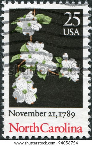 USA - CIRCA 1989: A stamp printed in the USA, dedicated to the 200th anniversary of the ratification of the Constitution of North Carolina, shows a plant Cornus alba, circa 1989