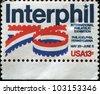 USA - CIRCA 1976: A stamp printed in the USA honoring Interphil'76, Internatinal Philatelic Exhibition, Philadelphia, Pennsylvania, circa 1976 - stock photo