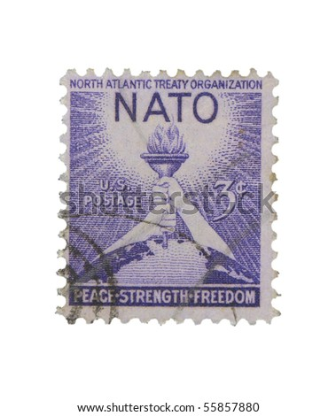 USA - CIRCA 1963: A stamp printed in the USA showing celebration of North Atlantic Treaty Organization, circa 1963