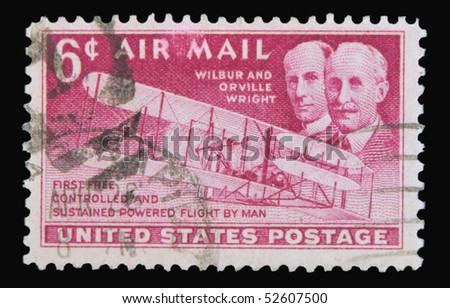 USA - CIRCA 1950: A stamp printed in the USA showing Wilbur and Orville Wright, circa 1950 - stock photo