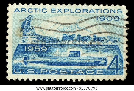 USA - CIRCA 1959 : A stamp printed in the USA shows Arctic Explorations, circa 1959 - stock photo