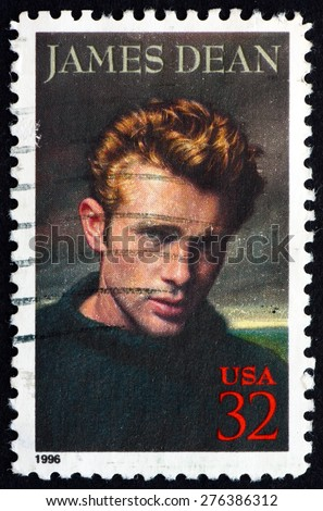 USA - CIRCA 1996: a stamp printed in the USA shows James Dean, American Actor, circa 1996 - stock photo