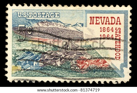 USA - CIRCA 1964 : A stamp printed in the USA shows Nevada Statehood, circa 1964