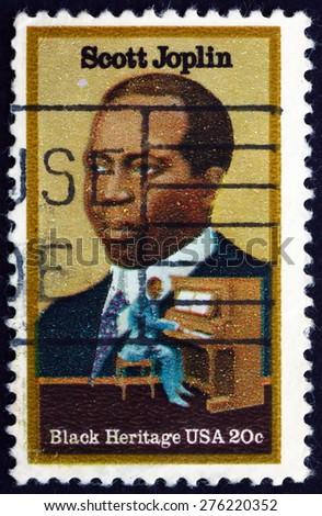USA - CIRCA 1983: a stamp printed in the USA shows Scott Joplin, Ragtime Composer, circa 1983 - stock photo