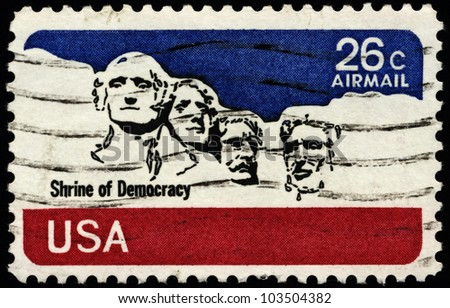 USA - CIRCA 1974: A stamp printed in the USA, shows the Mount Rushmore National Memorial, circa 1974 - stock photo