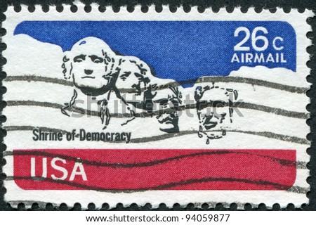 USA - CIRCA 1974: A stamp printed in the USA, shows the Mount Rushmore National Memorial, circa 1974 - stock photo