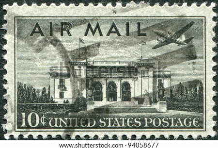 USA - CIRCA 1947: A stamp printed in the USA, shows the Pan American Union Building, Washington, DC and airliner Martin 2-0-2, circa 1947 - stock photo