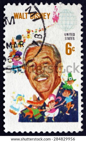 USA - CIRCA 1968: a stamp printed in the USA shows Walt Disney, Cartoonist, Film Producer, Creator of Mickey Mouse, circa 1968 - stock photo