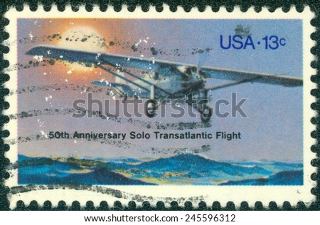 USA - CIRCA 1980: A stamp printed in United States of America dedicated to the 50th Anniversary Solo Transatlantic Flight circa 1980 - stock photo