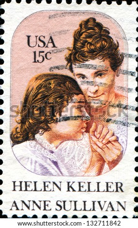 USA - CIRCA 1980: A stamp printed in United States of America shows Helen Keller and Anne Sullivan, circa 1980 - stock photo
