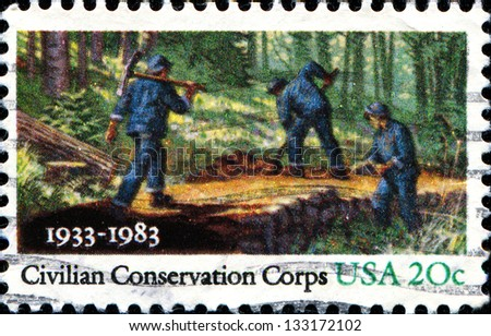 USA - CIRCA 1983: A stamp printed in United States of America shows People Working in Forest, Civilian Conservation Corps, circa 1983 - stock photo