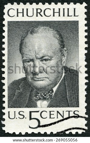 USA - CIRCA 1965: A stamp printed in United States of America shows Sir Winston Spencer Churchill (1874-1965), British statesman and WWII leader, circa 1965 - stock photo