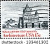 USA - CIRCA 1980: A stamp printed in United States of America shows Trinity Church in Boston by Henry Hobson Richardson, series American Architecture, circa 1980 - stock photo