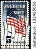 """USA - CIRCA 1964: A stamp printed in United States of America shows waving US stars flag with the inscription """"Register Vote"""", circa 1964 - stock photo"""