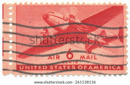 USA - CIRCA 1941: A stamp printed in United States shows Twin-Motored Transport Plane, series, circa 1941 - stock photo